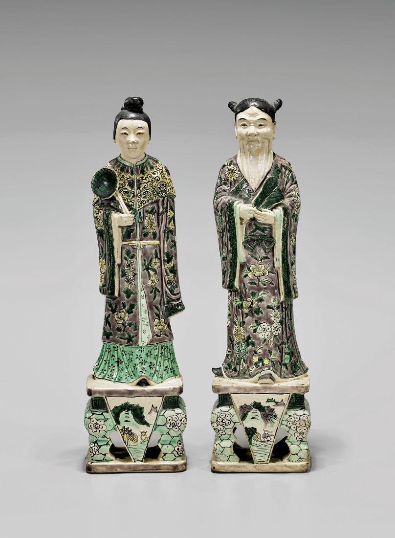 Pair Antique Kangxi-Style Porcelain Figures