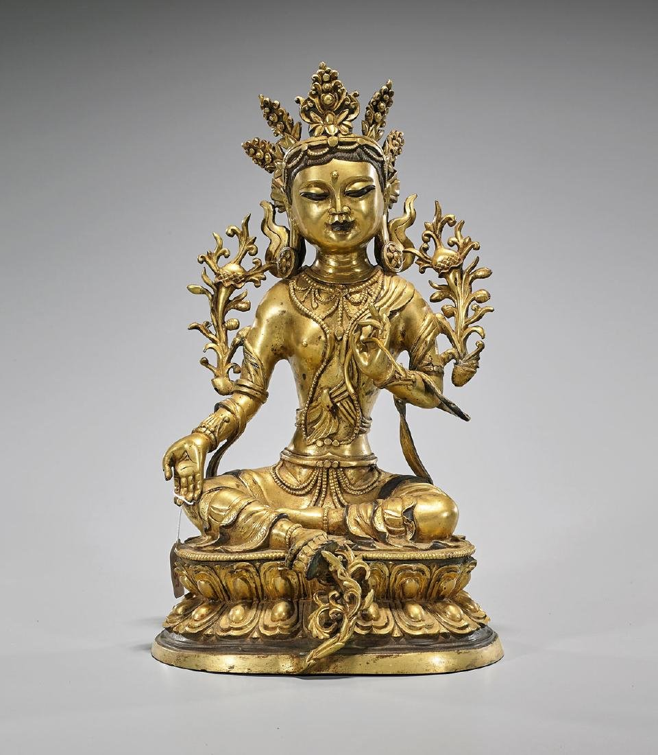 Sino-Tibetan Gilt Bronze Seated Tara