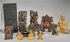 Group of Twelve Various Chinese Carved Wood Pieces