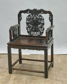 Elaborately Carved Antique Chinese Wood Chair