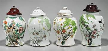 Group of Four Antique Chinese Enameled Porcelain Jars