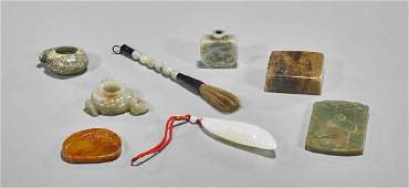 Eight Chinese Jade or Hardstone Items