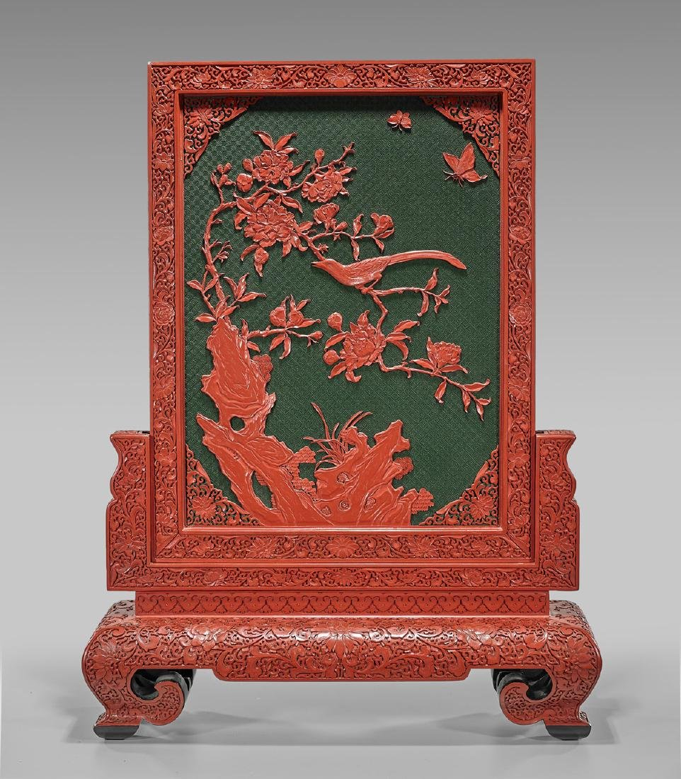 Massive Chinese Cinnabar Lacquer Tablescreen