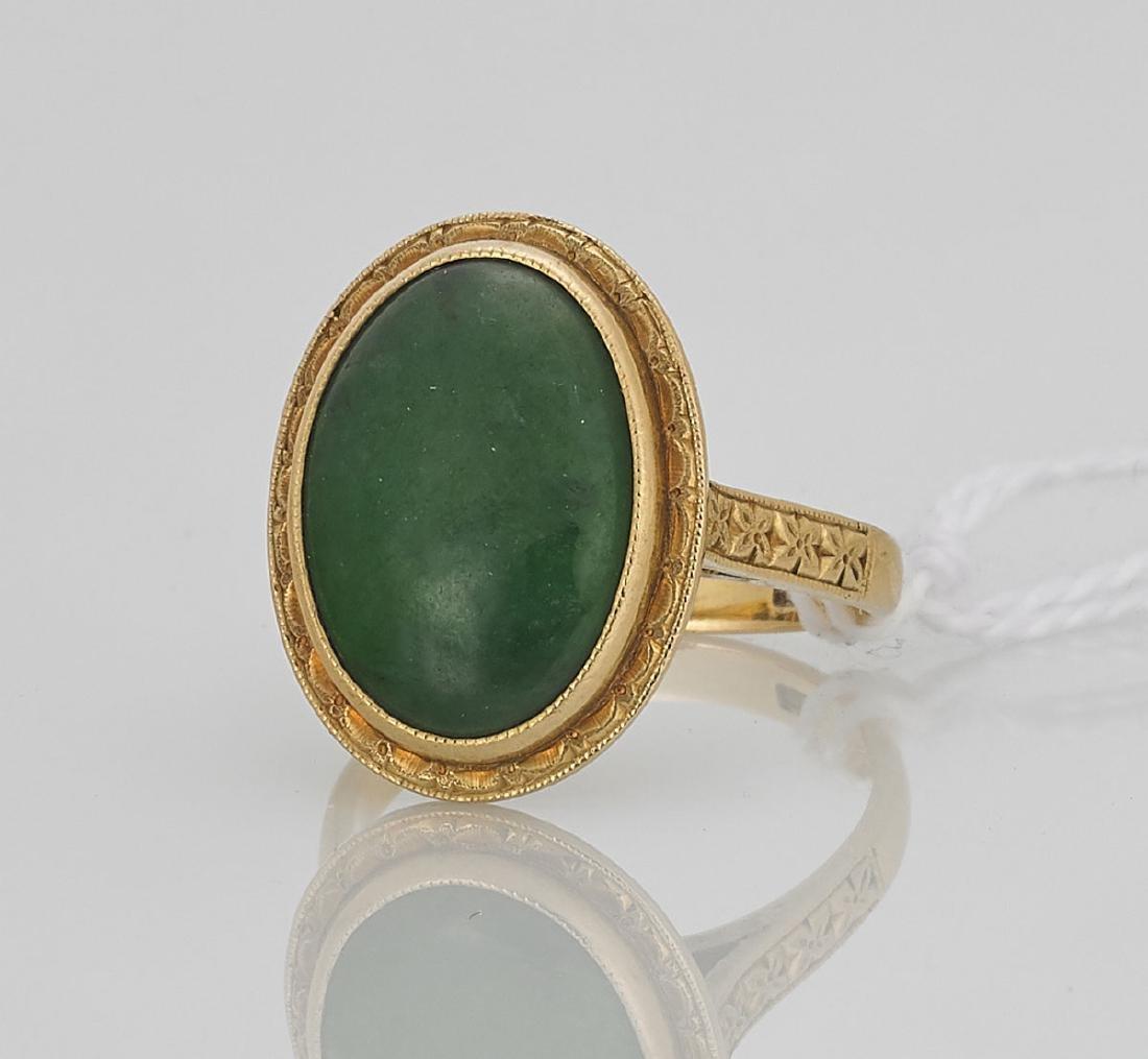 Jade Cabochon & 18k Yellow Gold Ring