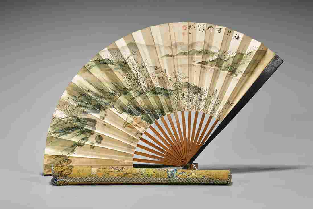 Two Asian Paper Items: Fan & Print