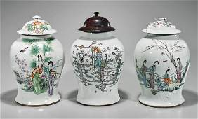 Group of Three Chinese Enameled Porcelain Covered Jars