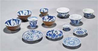 Large Group of Antique Chinese Blue & White Porcelains