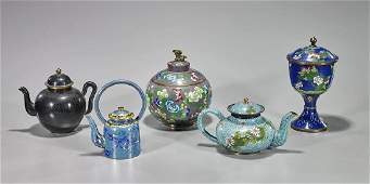 Group of Five Old Chinese Cloisonne Enamel Pieces