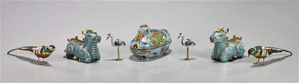 Group of Seven Old Cloisonne Enamel Animal-Form Pieces