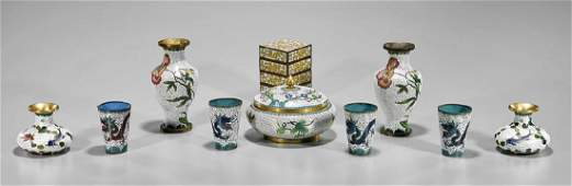 Group of Ten Old Chinese Cloisonne Enamel Pieces