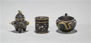 Group of Three Old Chinese Cloisonne Enamel Pieces
