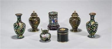 Group of Seven Old & Antique Chinese Cloisonne Enamel