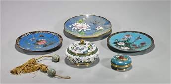 Group of Seven Cloisonne Enamel Pieces
