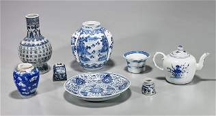 Group of Eight Old & Antique Blue & White Porcelains