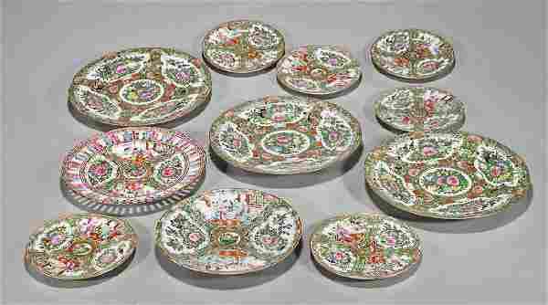 Eleven Old & Antique Rose Medallion Plates