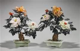Pair Chinese Carved Hardstone Flowering 'Trees'