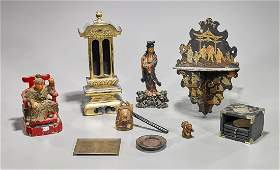 Eight Various Antique Wood  Lacquer Items