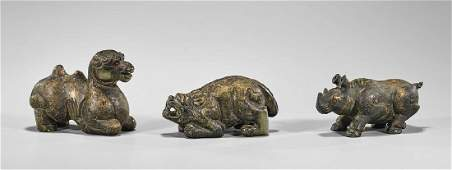 Group of Three Carved Hardstone Animals