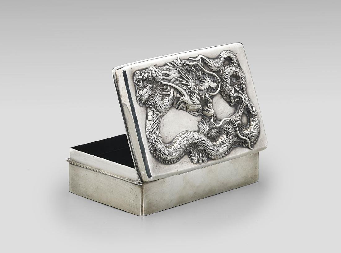 ANTIQUE CHINESE EXPORT SILVER BOX - 2