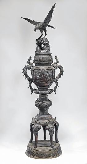 Monumental Japanese Meiji Period Bronze Censer