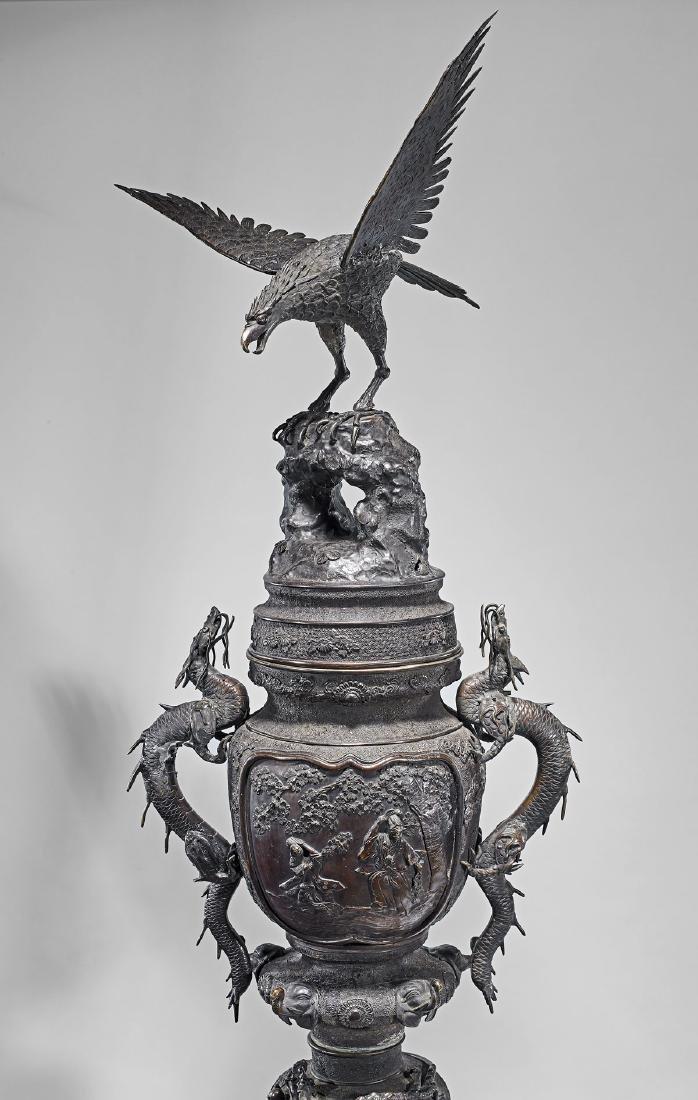 MONUMENTAL JAPANESE MEIJI PERIOD BRONZE CENSER - 3