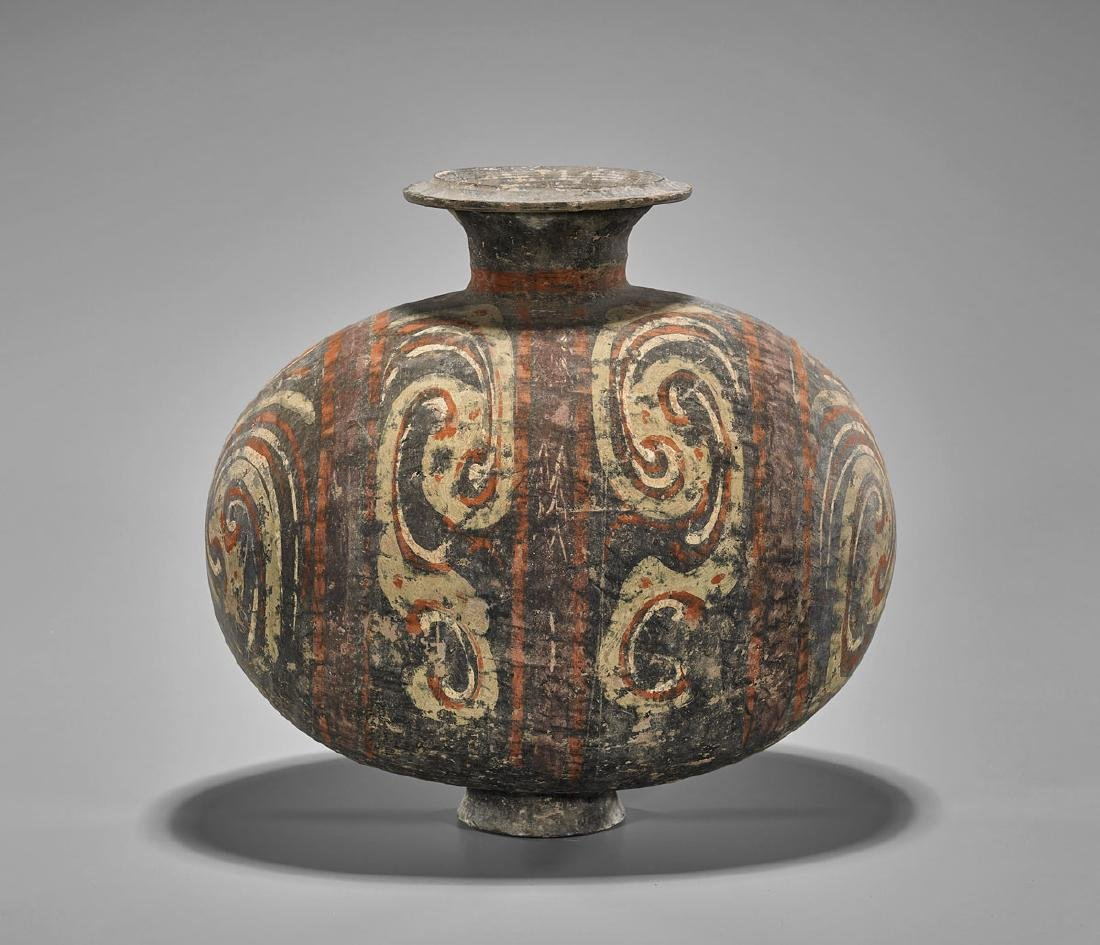 HAN DYNASTY PAINTED POTTERY COCOON VASE - 2