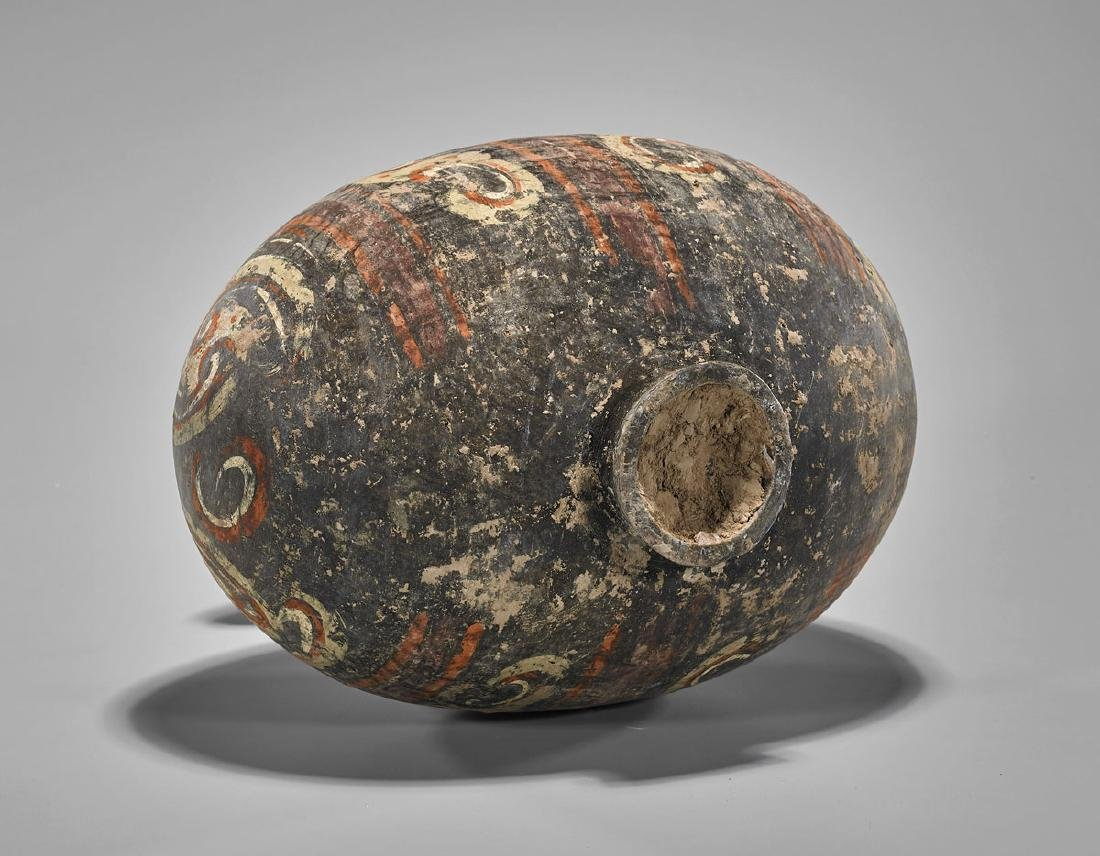 HAN DYNASTY PAINTED POTTERY COCOON VASE - 3