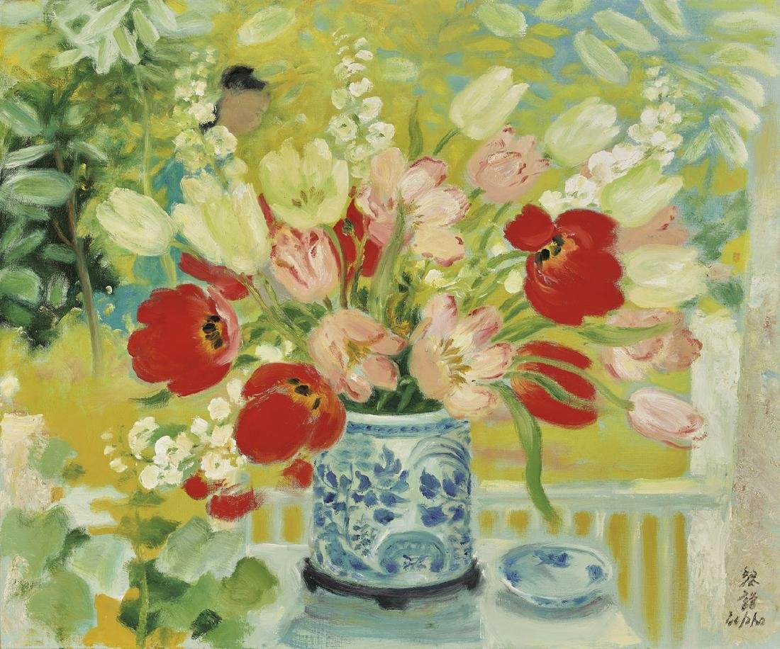 OIL ON CANVAS PAINTING BY LE PHO: Bouquet of Flowers
