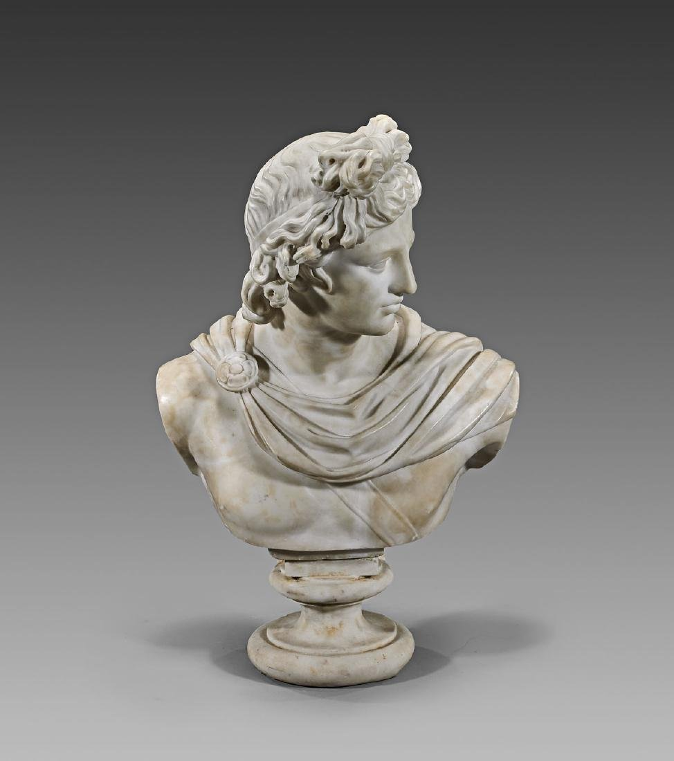 ANTIQUE ITALIAN ALABASTER BUST: Apollo Belvedere