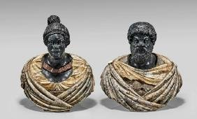 Pair Monumental Italian Marble Busts: King Micipsa &