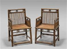 PAIR ANTIQUE CHINESE HARDWOOD ARMCHAIRS