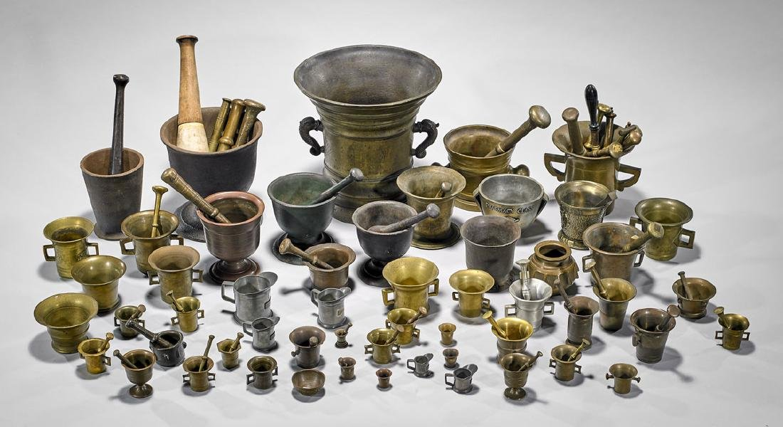 BRONZE MORTARS AND PESTLES