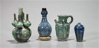 Group of Four Chinese Glazed Pottery Items