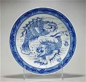 Antique Continental Blue & White Porcelain Charger