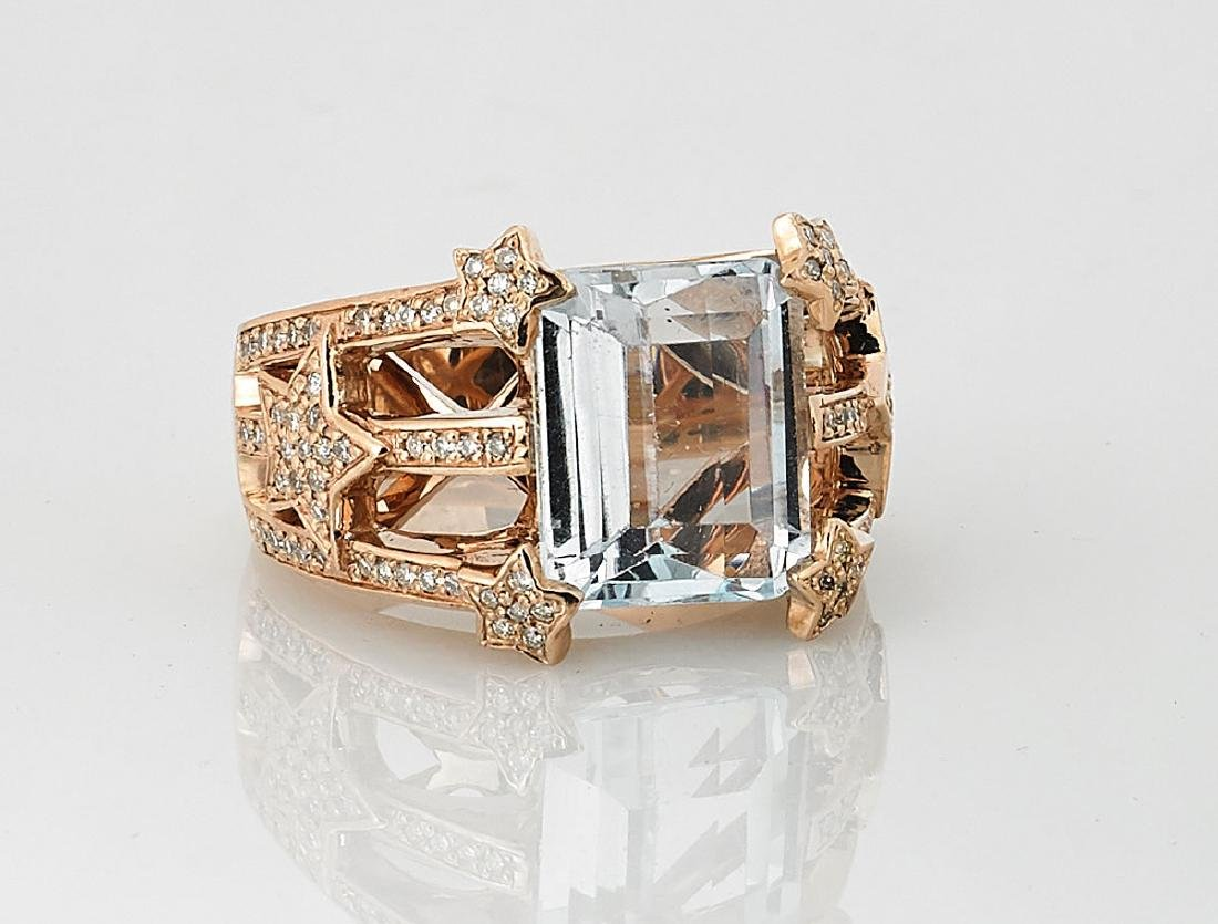 Aquamarine, Diamond & 14K Rose Gold Cocktail Ring
