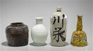 Group of Four Old  Antique Japanese Ceramic Vases