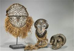 Group of Three Various African Carved Wood Masks