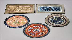 Group of Five Old Chinese Silk Embroideries