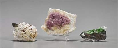 Three Various Mineral Specimens: Quartz & Fluorite