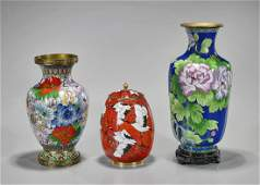 Three Various Chinese & Japanese Cloisonne Enamel