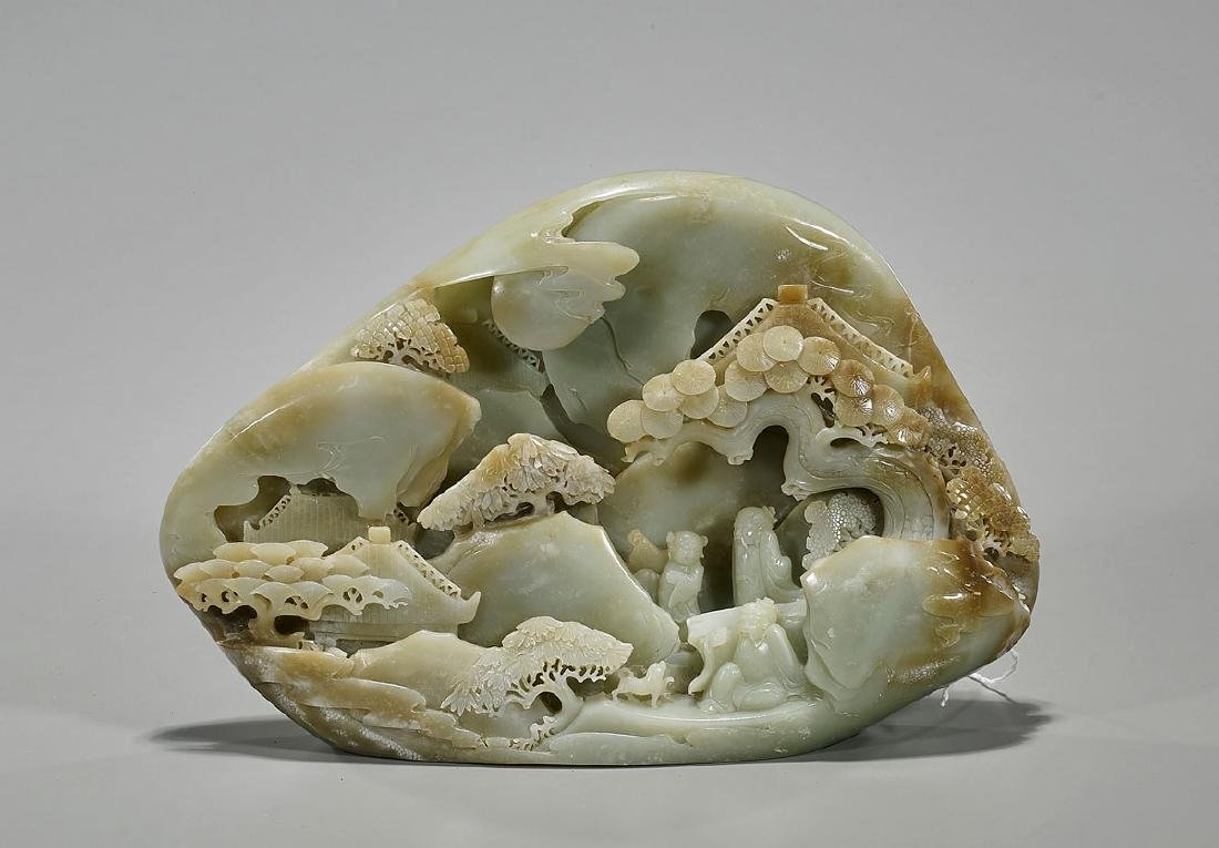 Chinese Carved Celadon Jade Mountain