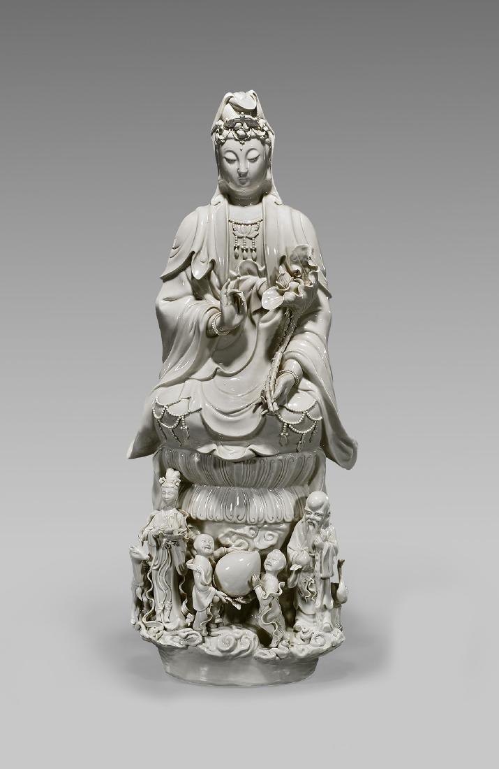 Tall Chinese Blanc De Chine Porcelain Guanyin