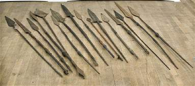 Collection of Sixteen African Metal Spears