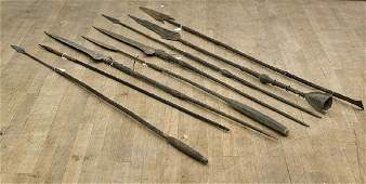 Collection of Eight Tall African Metal Spears