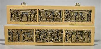 Group of Six Antique Chinese Carved Wood Figural Panels