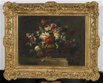 Pair Antique Continental Floral Still-Life Paintings on