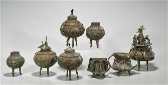 Group of Eight African Bronze Vessels