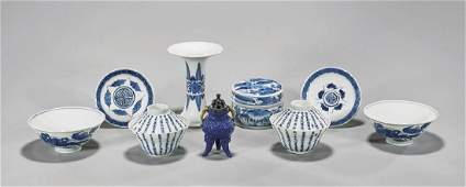 COLLECTION OF ANTIQUE BLUE  WHITE PORCELAINS