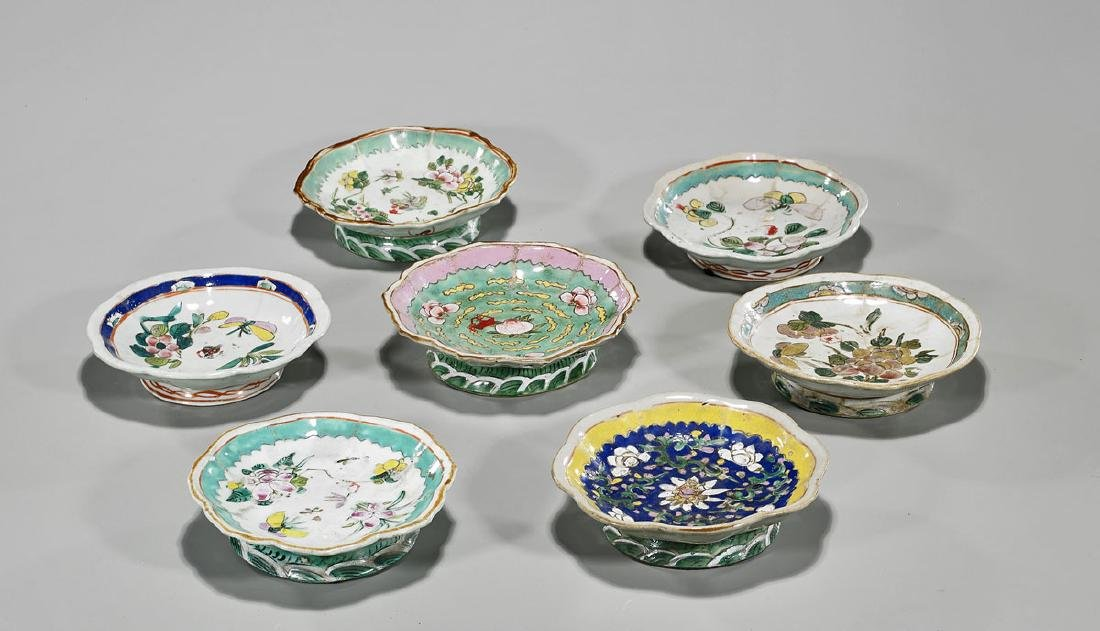 Group of Seven Old Chinese Enameled Porcelain Plates