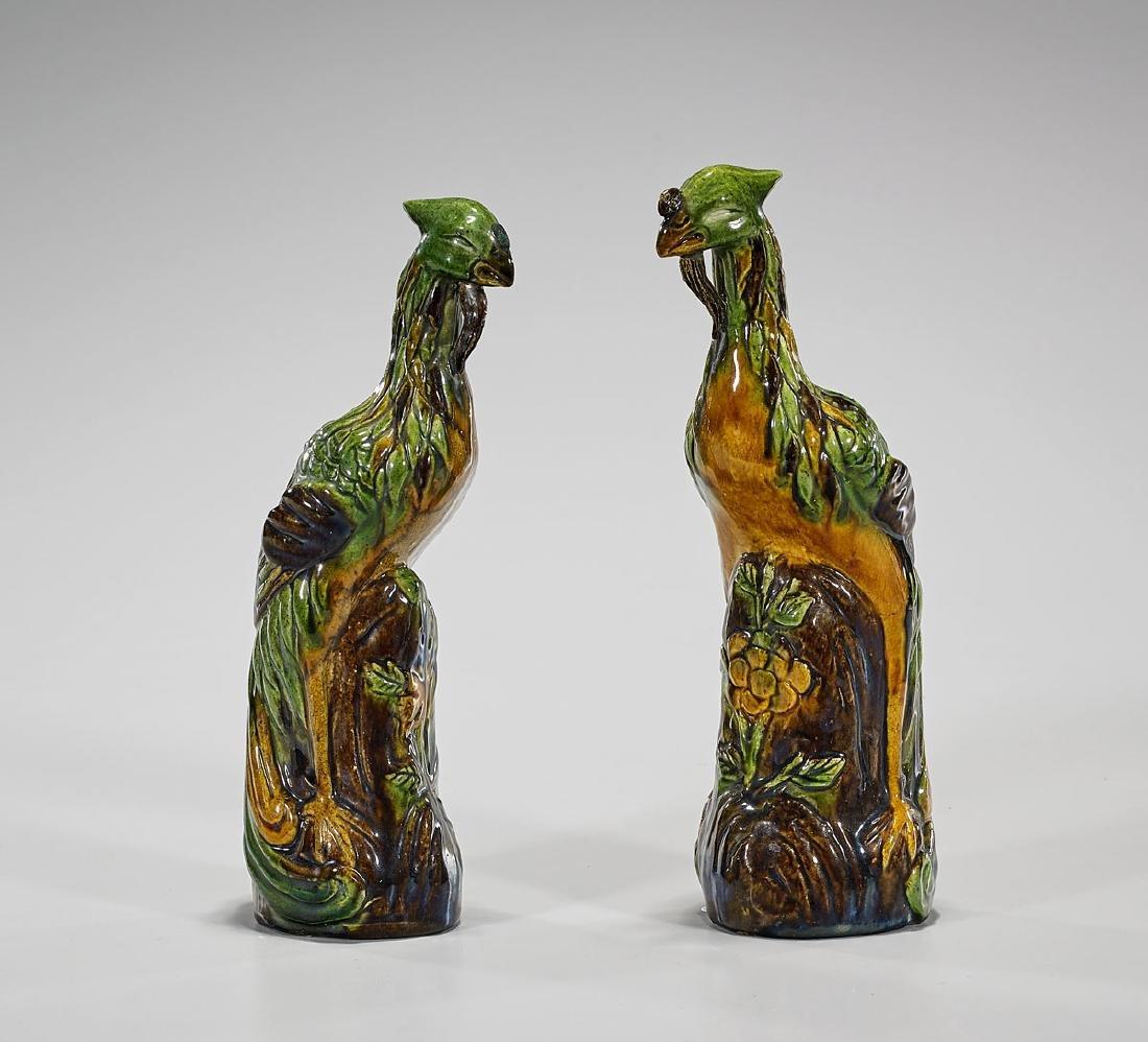 Pair Antique Chinese Glazed Pottery Phoenixes